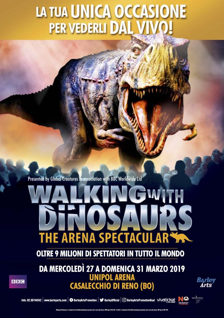 WALKING WITH DINOSAURS – THE SPECTACULAR ARENA TOUR all'Unipol Arena dal 27 al 31 marzo 2019